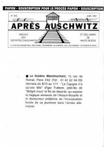 La cigogne n'a qu'une tête Igor Futterer Après Auschwitz 1997