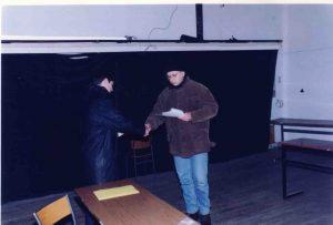 La cigogne n'a qu'une tête Igor Futterer Ercic Luttebacher Fabrice Bagni Répétition Théâtre de Ménilmontant 1996 -2
