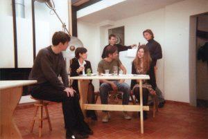 La cigogne n'a qu'une tête Igor Futterer Eric Luttebacher Olivier Sabin Patrick Casanova Répétition Théâtre de Ménilmontant 1996-2