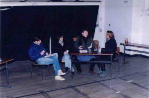 La cigogne n'a qu'une tête Igor Sabine Sabin Olivier Sabin Patrick CasanovaFutterer Répétition Théâtre de Ménilmontant 1996 -1