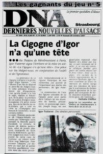 La cigogne n'a qu'une tête - Igor Futterer - Dernières Nouvelles d'Alsace - 1997