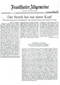 La cigogne n'a qu'une tête - Igor Futterer - Frankfurter Allgemeine - 1997